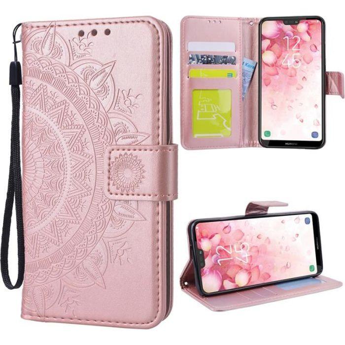 Young Rich Housse Coque iPhone 11 Or Rose Rabat Fonction Stand PU Étui en cuir Portefeuille Protection Antichoc