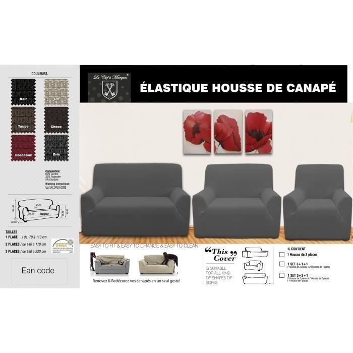 housse de canap 3 2 1 gris achat vente housse de canape cdiscount. Black Bedroom Furniture Sets. Home Design Ideas