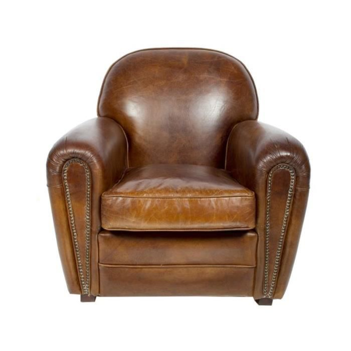 fauteuil club sheffield cuir marron vintage achat vente fauteuil marron soldes d s le 27. Black Bedroom Furniture Sets. Home Design Ideas