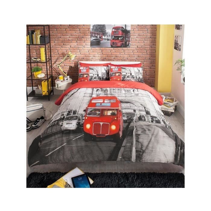 parure de couette londres bus rouge 2 per lit 160 cm achat vente housse de couette cdiscount. Black Bedroom Furniture Sets. Home Design Ideas
