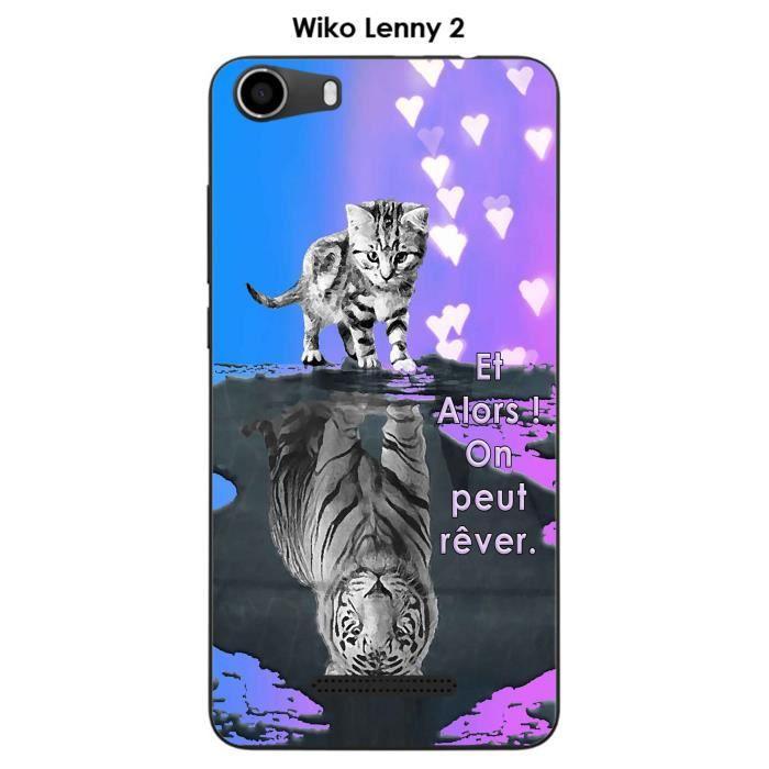 Coque Wiko Lenny 2 design Chat Tigre Blanc fond bl