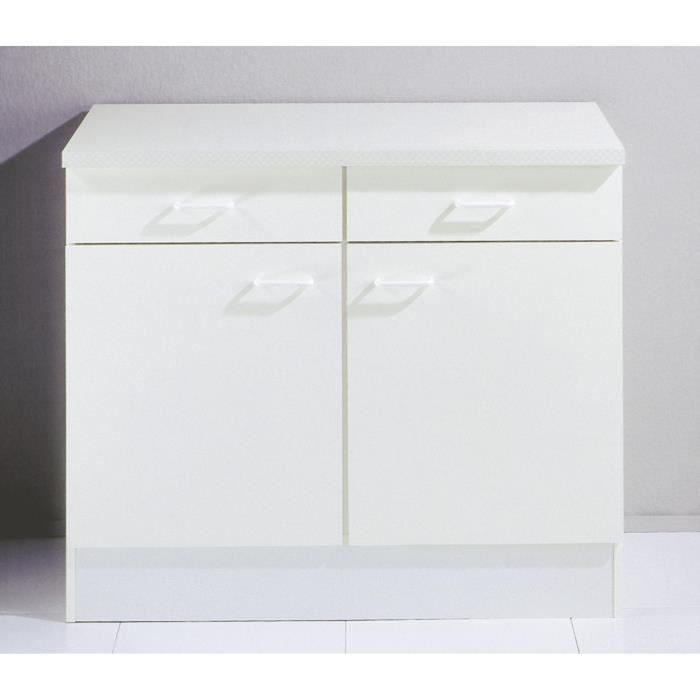 meuble bas cuisine blanc 2 portes et 2 tiroirs achat. Black Bedroom Furniture Sets. Home Design Ideas