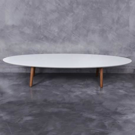 table basse ovale scandinave avec plateau en bois laqu e blanc by auxportesdeladeco achat. Black Bedroom Furniture Sets. Home Design Ideas