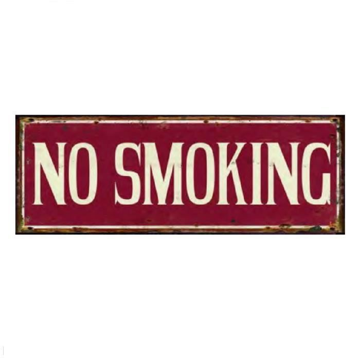 Plaque d corative en m tal no smoking ne pas fumer rouge for Plaque metal deco pour mur