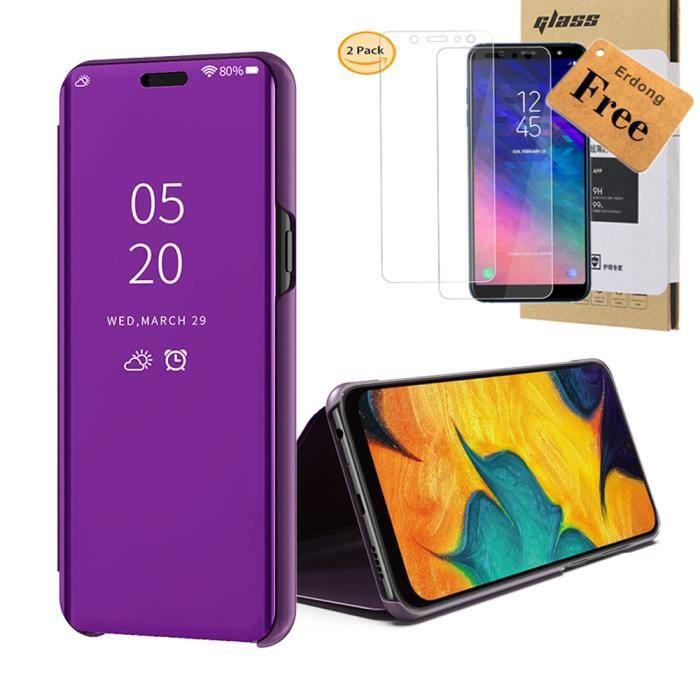 Coque Samsung A40 [2 Verre Trempé], Violet Miroi