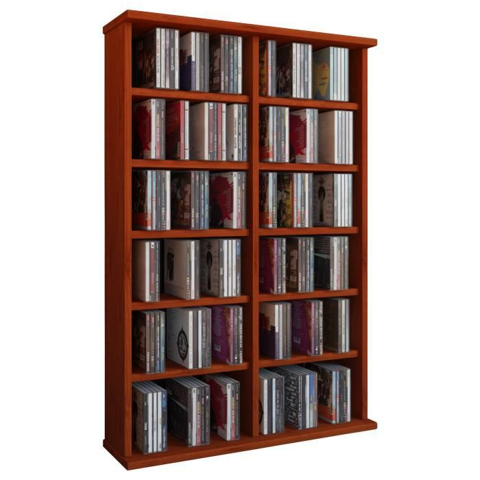 ronul tour rangement biblioth que cd dvd 300 cd sans portes cerisier achat vente. Black Bedroom Furniture Sets. Home Design Ideas