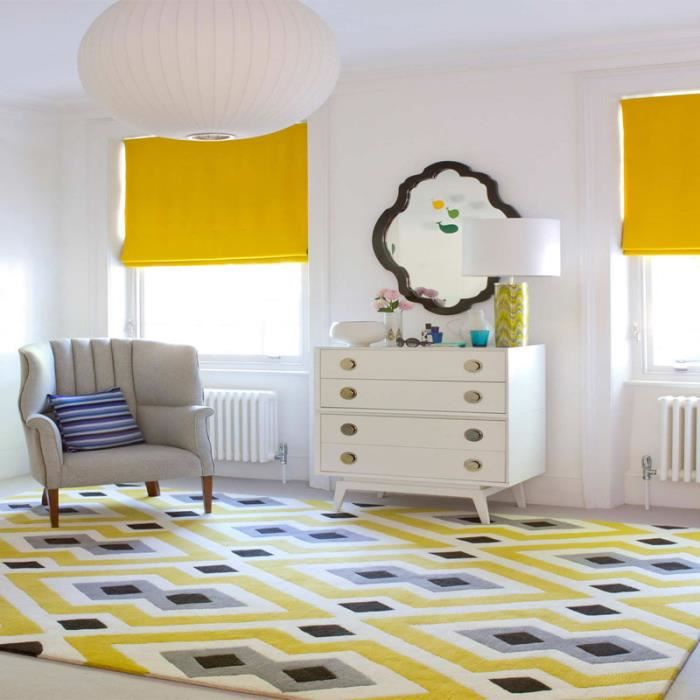tapis gris et jaune achat vente tapis gris et jaune pas cher cdiscount. Black Bedroom Furniture Sets. Home Design Ideas