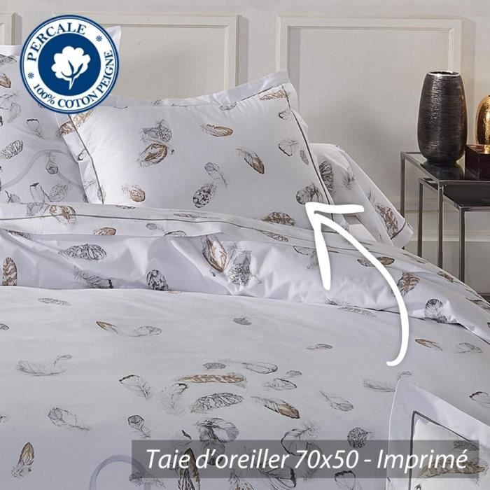 taie d 39 oreiller 70x50 cm percale pur coton plumes achat vente taie d 39 oreiller cdiscount. Black Bedroom Furniture Sets. Home Design Ideas