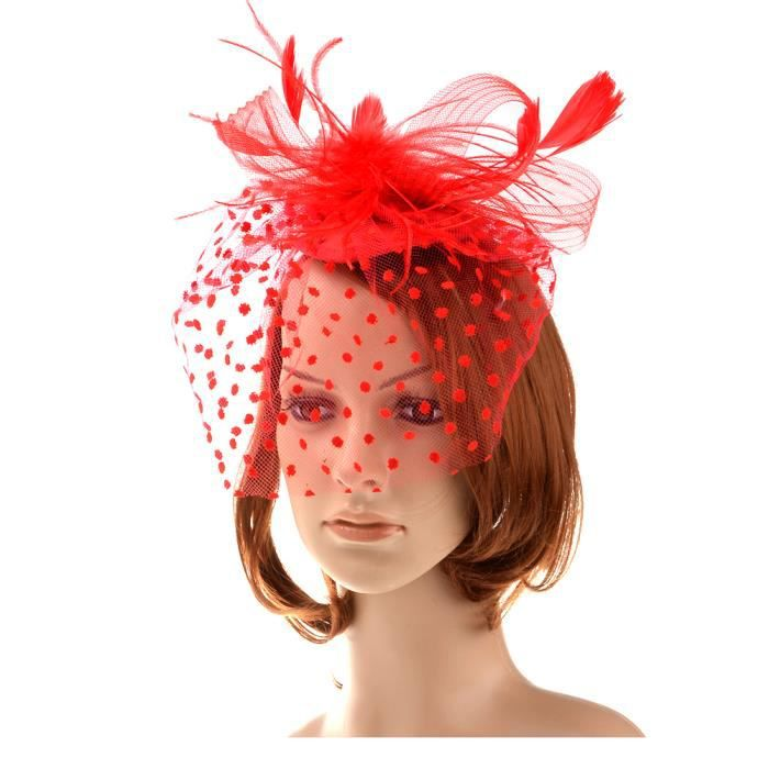 vbiger chapeau bibi voile de visage pour mariage soir e spectacle rouge achat vente bonnet. Black Bedroom Furniture Sets. Home Design Ideas