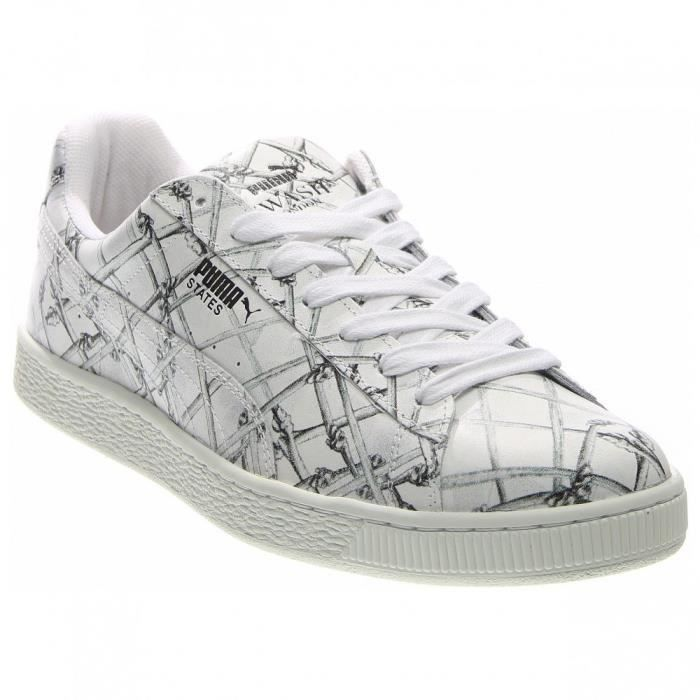 Puma States X Swash Bones Round Toe Leather White Sneakers MDE05 42