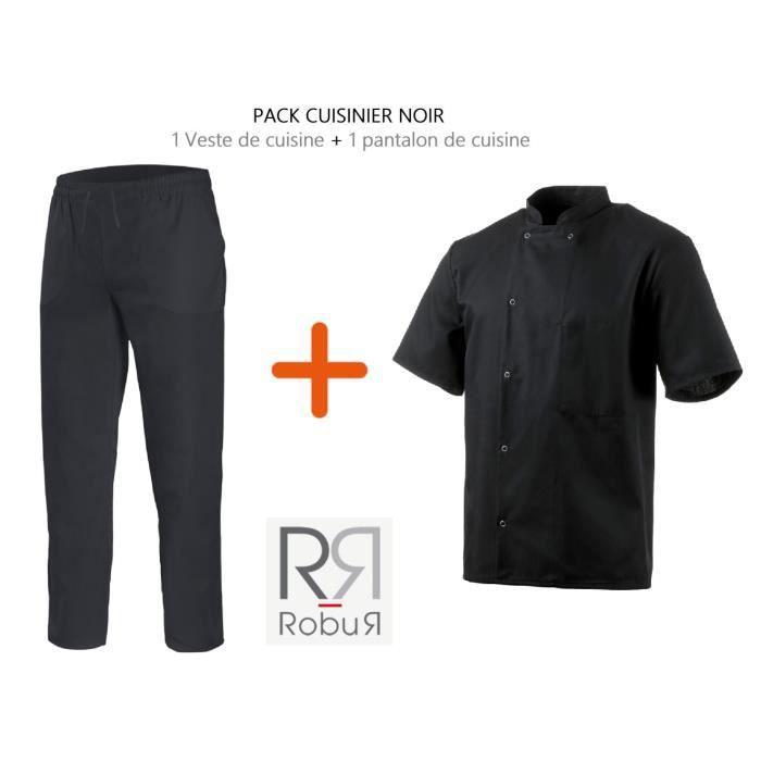 Veste De Cuisine Noire Robur Pantalon De Cuisine Noir Noir
