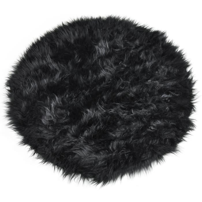 tapis shaggy floky rond noir achat vente tapis. Black Bedroom Furniture Sets. Home Design Ideas