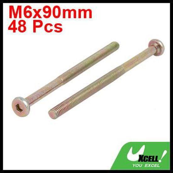sourcingmap M6x90mm acier carbone Grade 4,8 vis t/ête ronde vis Meuble 48pcs