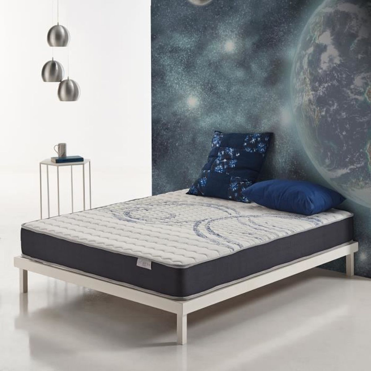 Matelas Activex 80x190 Cm Cosmos 100 Mousse Hr Blue Latex 7 Zones