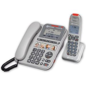 Téléphone fixe Téléphone senior filaire avec combiné sans fil amp