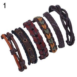 BRACELET - GOURMETTE 6pcs hommes en faux cuir tressé corde bracelet bra
