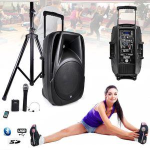 PACK SONO Enceinte Gym, Fitness Batterie amplifié 900W TRANS