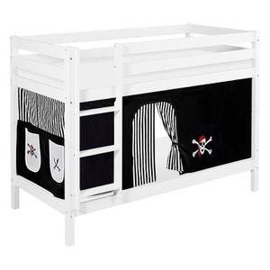 LITS SUPERPOSÉS Lits superposés JELLE 90 x 190 cm Pirate noir blan