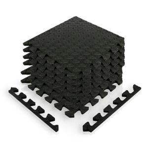 TAPIS DE SOL FITNESS Tapis puzzle set de 12 dalles noires
