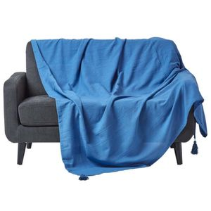jete de lit bleu achat vente jete de lit bleu pas cher cdiscount. Black Bedroom Furniture Sets. Home Design Ideas