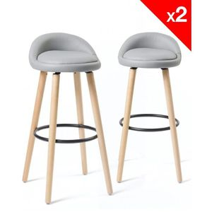 TABOURET DE BAR KAYELLES lot de 2 Tabourets de Bar Design Scandina