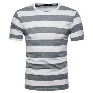 T-SHIRT Tee Shirt Homme Rayé Col Rond T-Shirt Manche Court