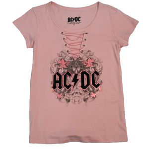 T-shirt Femme ACDC Rose Manches Courtes Col