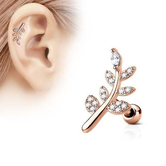 Piercing oreille cartilage barre plaqué or 9 strass