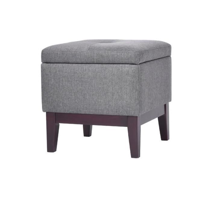 cormorant tabouret coffre pouf de salon en bois massif rev tement tissu pouf gris. Black Bedroom Furniture Sets. Home Design Ideas