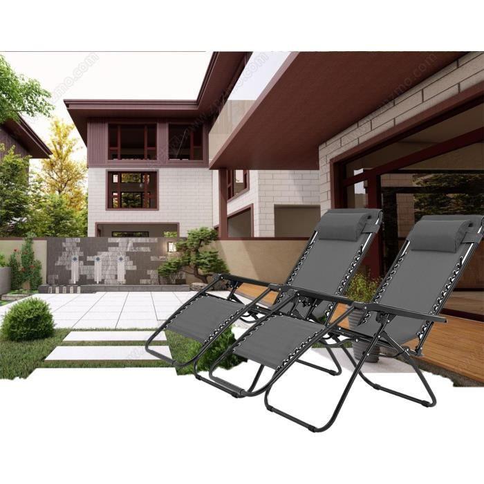 ZIBOE° Lot de 2 Transats de Jardin, Chaise Longue Inclinable avec oreiller amovible, Gris, Ergonomie/Pliant