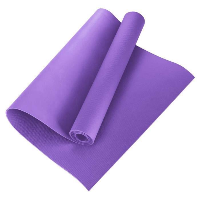 4MM Tapis de Yoga EVA Antidérapant Gym à Domicile Tapis D'exercice Pilates Tapis de Fitness 173 * 60 * 0.4 cm Violet