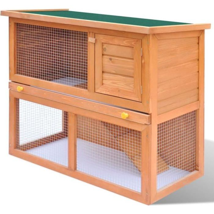 Cage Clapier Enclos lapin Extérieur en bois 1 porte 90 x 45 x 80 cm
