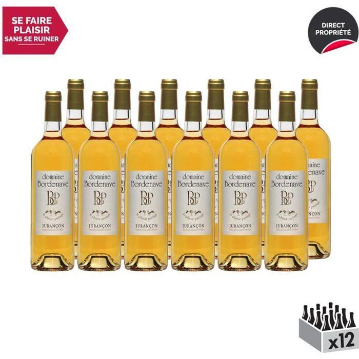 Jurançon Moelleux Le Plaisir Partagé Gros Manseng Blanc 2018 - Lot de 12x75cl - Domaine Bordenave - Vin Doux AOC Blanc du Sud-Ouest