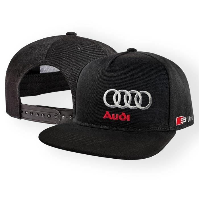 Audi S Line Casquette de Baseball Snapback Noir Brodé Logo Auto Voiture Homme Femme Réglable Cap Hat Chapeau Hip-Hop Cadeau 5 Panel
