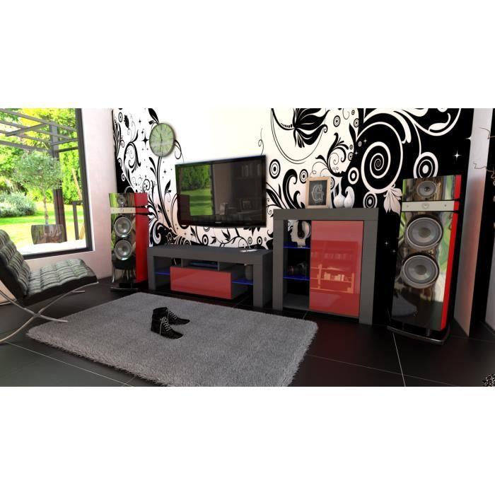 Ensemble de meubles noir mat et bordeaux laqué + led RGB