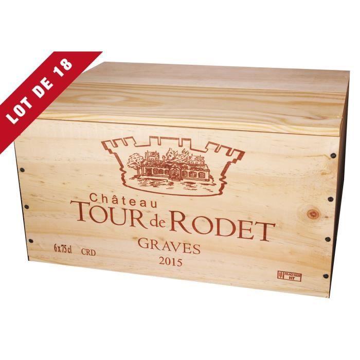 18X La Caisse Bois 6x75cl estampillé Château Tour de Rodet - coffret