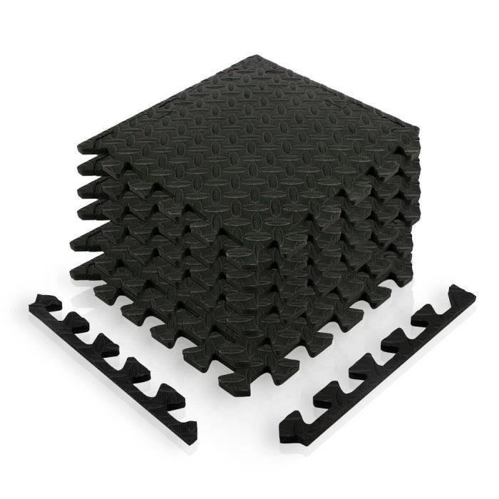 Tapis puzzle set de 12 dalles noires