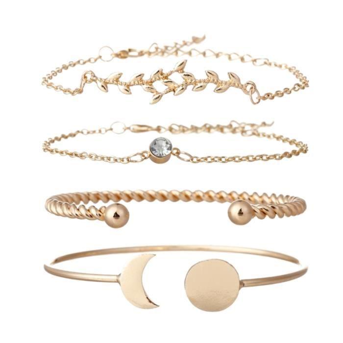 4 pièces feuilles élégant diamant Bracelet réglable lune manchette bracelet bijoux cadeau pour les BRACELET - GOURMETTE - RING
