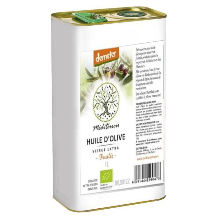 Huile d'Olive Bio Demeter, Méditerroir, Extra vierge Douce et Fruitée 5L