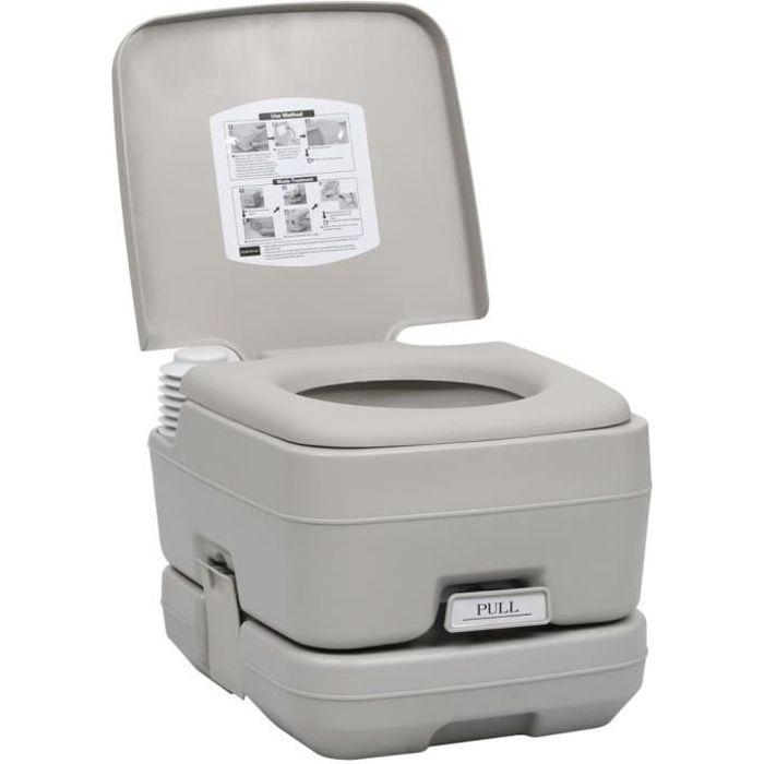 Toilette WC portable de camping de Voyage 10+10 L - Capacité de charge : 200 kg - Toilette de caravane - Gris - 41,5 x 36,5 x 30 cm