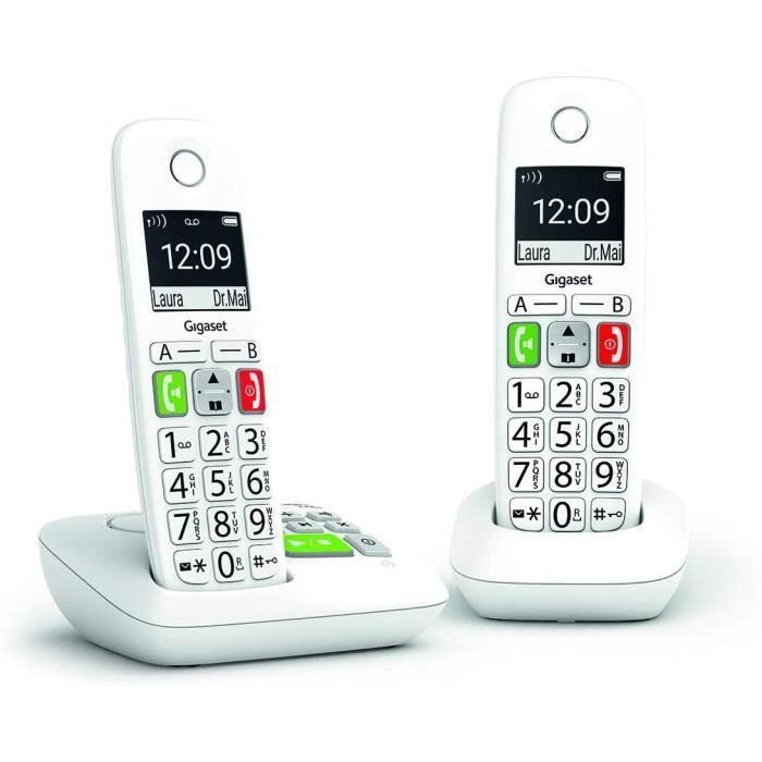 Gigaset E290A Duo - Téléphone Fixe sans Fil Blanc avec Répondeur Intégré, 2 combinés avec Grand écran rétroéclairé, larges Touches,