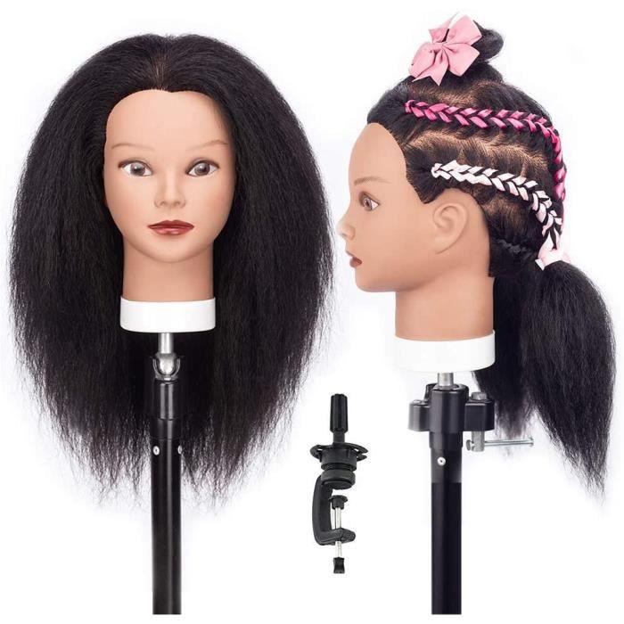 Tête à Coiffer Afro avec Cheveux 100% Yak Nature 30 cm Cosmétologie Pratique Mannequin Poupée + Titulaire