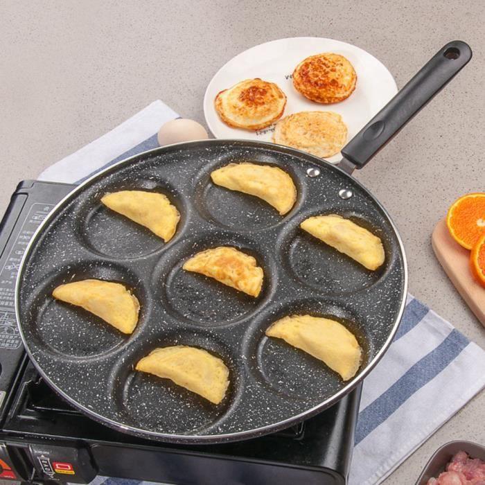 EBTOOLS poêle à frire antiadhésive 7 trous poêle à frire oeufs frits antiadhésifs poêle de cuisson Burger moule ménage