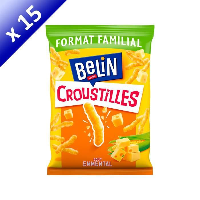 [LOT DE 15] BELIN Croustilles goût Emmental Format Familial 138g