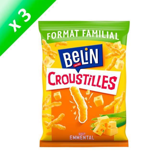 [LOT DE 3] Belin Croustilles goût Emmental Format Familial 138g