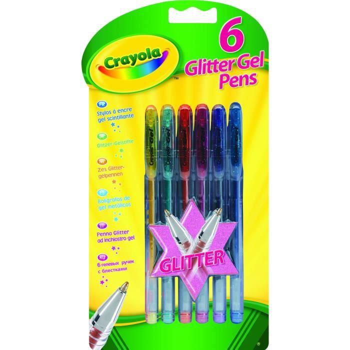 Crayola - 6 Stylos à encre gel scintillante -