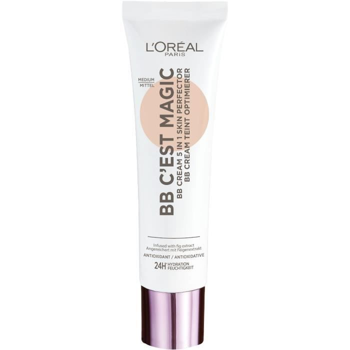 L'Oréal Paris - Wake up & Glow - BB Crème 5 en 1 Perfecteur de Teint Universel - Hydratation 24H/FPS20 - Médium (04) - 30 ml