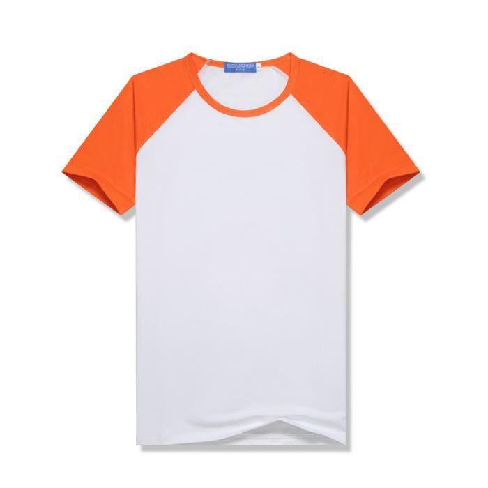 T-shirt Raglan Manche Courte Col Rond Homme Femme Enfant Haute élasticité Respirant Tee Shirt Baseball Top Orange