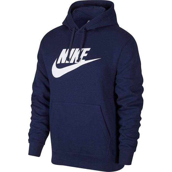 Nike Vêtement de Sport Club Toison Sweat Hommes, Homme, Sweat-Shirt, BV2973, Bleu Marine / Blanc, L