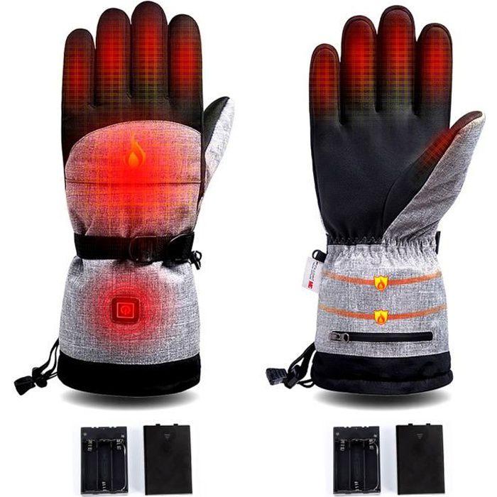 Gants chauffants électriques à batterie rechargeable, 3 niveaux de chauffage avec température réglable pour tous les types d'extérie